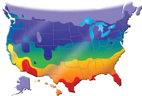 Une carte avec codes de couleur des États-Unis